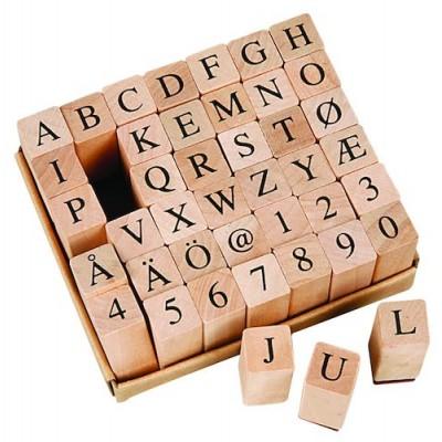 Trästämplar Bokstäver och Siffror 13x13mm