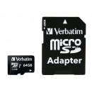 Verbatim Premium MicroSDHC Kort med Adapter 64GB