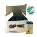 Batteri GP Ultra Plus Alkaline 9V 10st/fpk (Miljö)