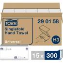Pappershandduk Tork H3 Singlefold Universal 4500ark/fpk