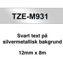 Märkband Brother TZeM931 12mm Svart/Silvermetallic