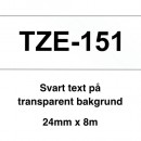 Märkband Brother TZe151 24mm Svart/Transparent